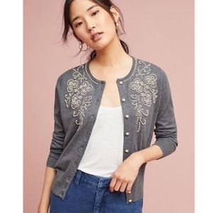 Anthro Field Flower Pearl Embellished Cardigan S